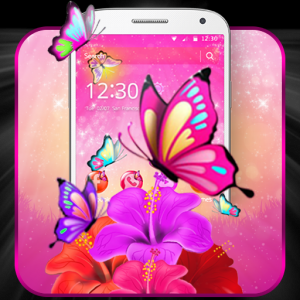 Pink Butterfly Flower Theme Icon