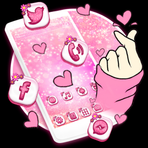 Bling Love Heart Launcher Theme Live HD Wallpapers Icon