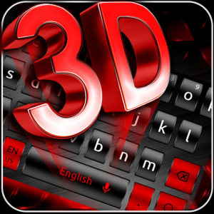 3D Black Red Keyboard Theme Icon