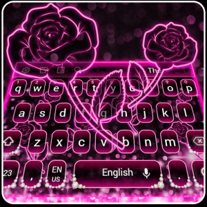 Sparkling Pink Neon Roses Keyboard Icon