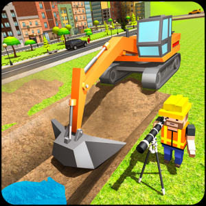 Mega City Canal Construction & Road Builder Icon
