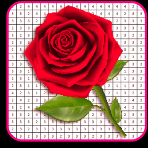 Rose Flowers Coloring Book, Color By Number Pixel Icon