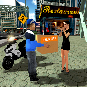 City Courier Delivery Rider Icon